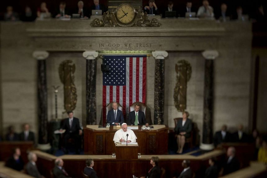 Pope Francis speaks to a joint meeting of Congress in the House Chamber at the U.S. Capitol on Sept 24, 2015.