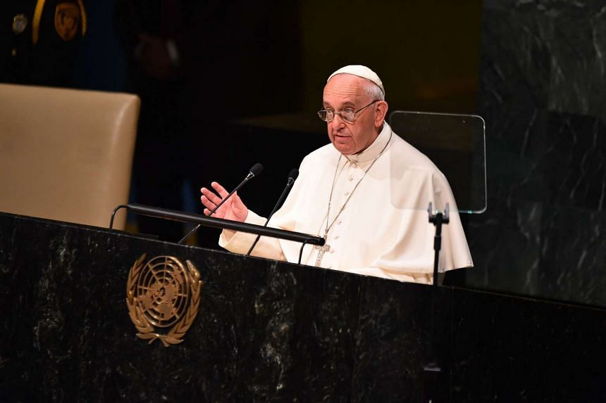 Pope Francis speaks at the UN General Assembly on Sept 25, 2015 at the United Nations in New York.