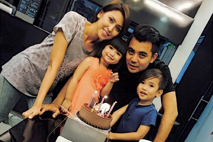 Actress-host Nurul Aini with her husband Sofian Roslan and children Shaista Eman (left) and Shan Ehan.