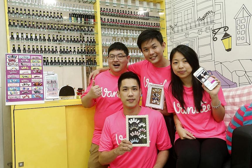 (From left) Mr Meters Ang, Mr Choy Peng Kong, Mr Douglas Gan and Ms Kuik Xiao Shi are the founders of four-month-old Vanitee, which will benefit from the funds from fragrance and cosmetics company Luxasia Group and angel investor Robert Yap.