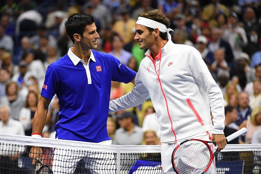 Novak Djokovic (left) greeting Roger Federer before their US Open final clash. The world's top two players are set to continue their rivalry in Singapore in December when they compete in the International Premier Tennis League.