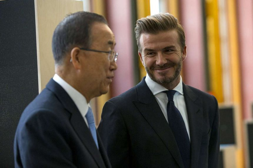 Unicef Goodwill Ambassador David Beckham (right) speaking with UN Secretary-General Ban Ki-Moon at the event.