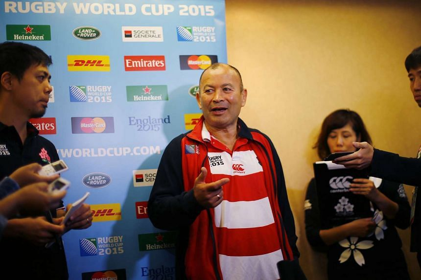 Japan's head coach Eddie Jones speaks to the media during the press conference.