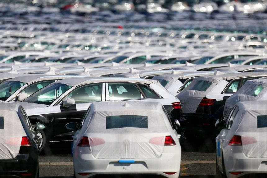 Cars parked at the logistics park of German auto giant Volkswagen in Villers-Cotterets on Sept 25, 2015.