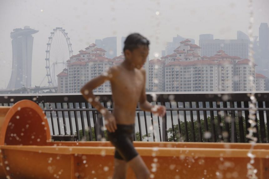 A boy playing in kids' play pool at the Sports Hub at around 2.30pm on Sept 25, 2015.