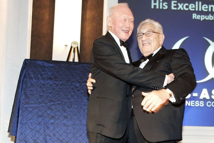Mr Lee Kuan Yew with former secretary of state Henry Kissinger at the US-Asean Business Council's 25th anniversary dinner in 2009. Dr Kissinger, a close friend of Mr Lee's, was one of the organisers of a private memorial service held in New York for