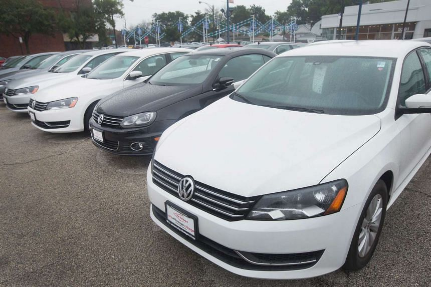 A Volkswagen Passat is offered for sale at a dealership on Sept 18, 2015, in Chicago, Illinois.