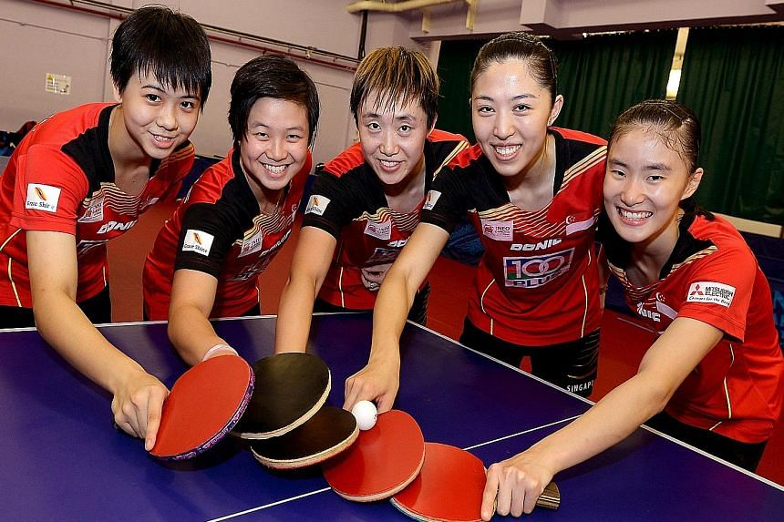 The Singapore women's team will feature new faces at the Asian Table Tennis Championships in Pattaya, Thailand. Feng Tianwei (centre) and Yu Mengyu (second from right) will lead a new-look team including teenagers Goi Rui Xuan (left), Eunice Lim (sec
