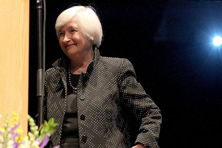 Dr Janet Yellen after her speech in Massachusetts on Thursday. She was speaking a week after the Fed kept interest rates near zero, citing global developments that might dampen growth and inflation in the US.