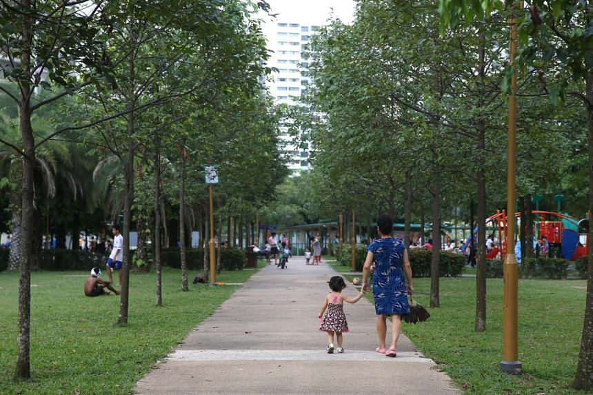 Residents at an outdoor area at Fernvale Link.