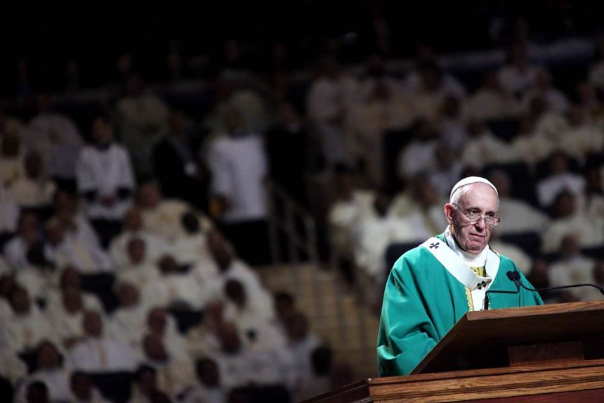 Pope Francis conducting Mass at Madison Square Garden in New York City on Sept 25, 2015.