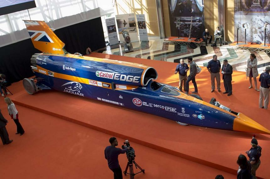 The Bloodhound Supersonic Car at its unveiling in London on Thursday. It is aiming to reach 1,287kmh next year in South Africa and then shatter a mind-bending 1,600kmh threshold in 2017.