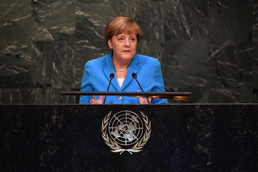 Angela Merkel, Chancellor of the Federal Republic of Germany speaks at the United Nations Sustainable Development Summit at the United Nations General Assembly in New York on Sept 25, 2015.