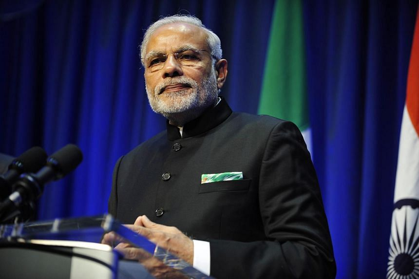 Indian Prime Minister Narenda Modi speaks during a joint news conference with Irish Prime Minister (Taoiseach) Enda Kenny (unseen) following their meeting in Dublin, Ireland, on Sept 23, 2015.