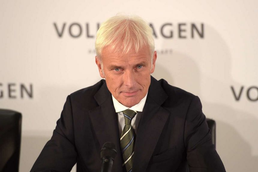 Mr Matthias Mueller, new chief executive of Volkswagen AG, attends a press conference at the VW factory in in Wolfsburg, Germany, Sept 25, 2015.