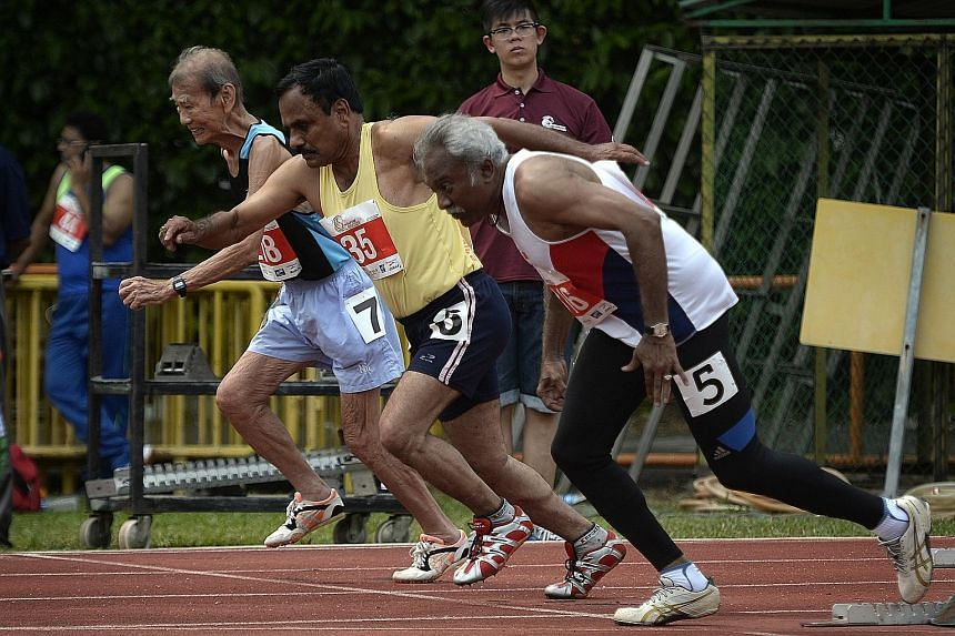 About 500 athletes aged 35 and above will be taking part in the two-day Singapore Masters Open Track and Field Championships at the Toa Payoh Stadium. Yesterday saw the competition's most senior athlete, 85-year-old Chan Meng Hui (left), getting a fi