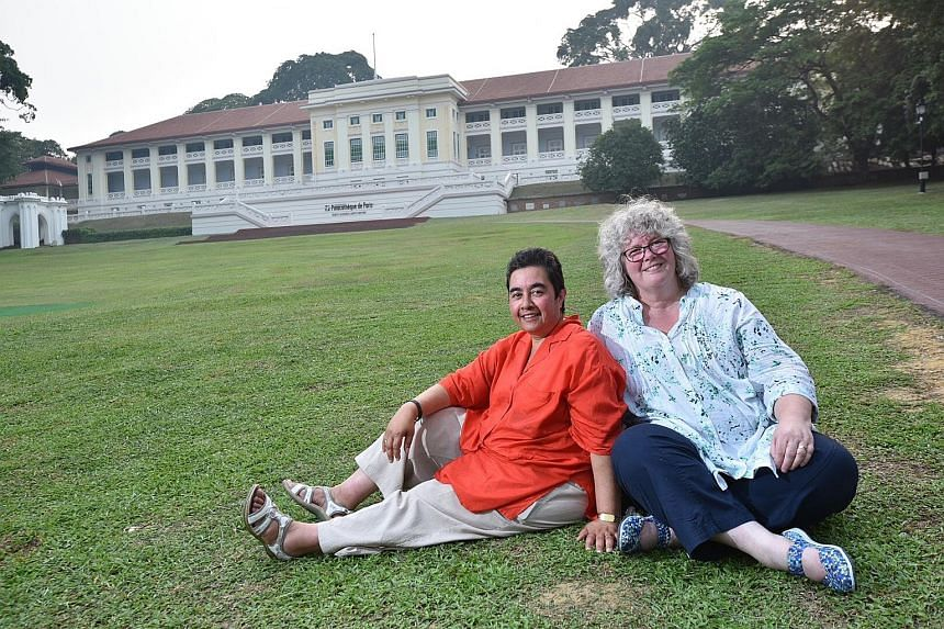 Ms Abbott (far left), who made headlines in 1958 (above) after she was put up for adoption by her mother through The Straits Times, visited Fort Canning Park with Ms Stevens during their trip here. Ms Abbott's adoptive father had worked there as a Br