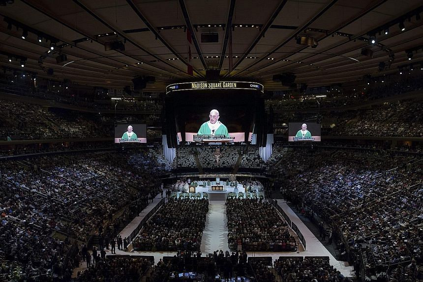 Madison Square Garden, New York's premier concert venue, was turned into a serene and beautiful venue for Catholics to celebrate mass last Friday, when Pope Francis delivered his last public remarks in America's financial capital before leaving for P