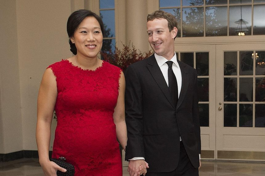 Facebook founder Mark Zuckerberg and his wife, Ms Priscilla Chan, arriving for the state dinner hosted by US President Barack Obama for Chinese President Xi Jinping at the White House on Friday.