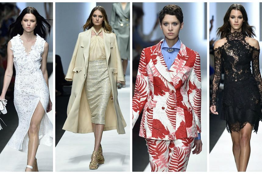 Models present creations from the Spring/Summer 2016 collection of Italian fashion house Ermanno Scervino.