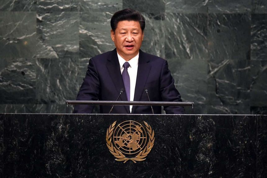 China's president Xi Jinping speaking at the United Nations Sustainable Development Summit.