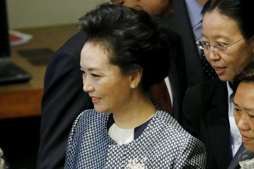 Chinese First Lady Peng Liyuan attends a meeting on Gender Equality and Women's Empowerment at the United Nations headquarters in Manhattan, New York on Sept 27, 2015.