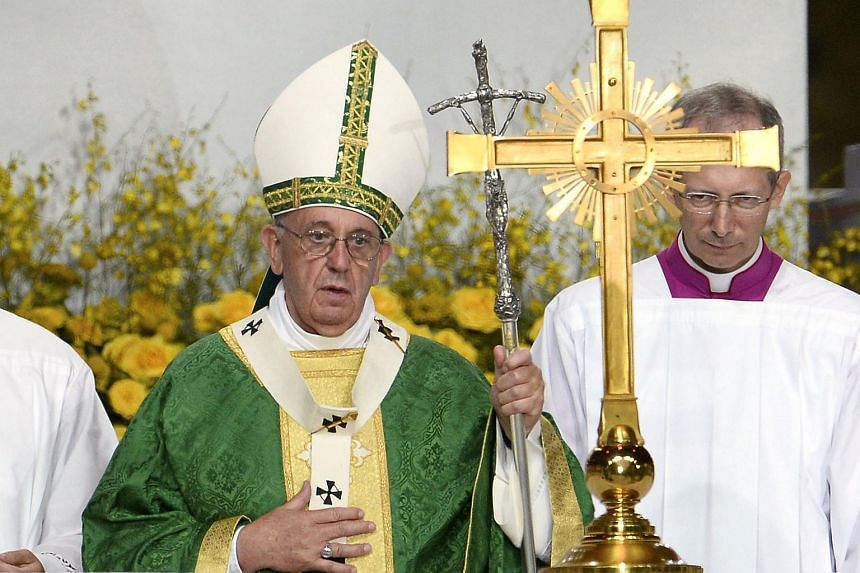 Pope Francis celebrating mass in Philadelphia on the final day of his trip to the US.