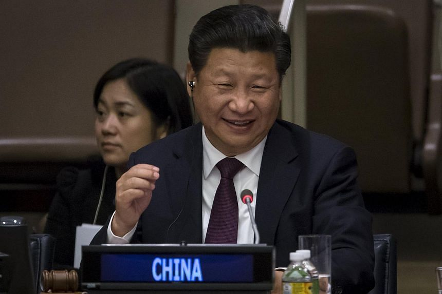 China President Xi Jinping at the Global Leaders' Meeting on Gender Equality and Women's Empowerment at the United Nations headquarters in Manhattan.