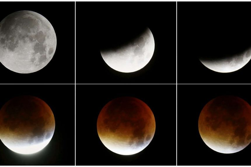 A combination of six pictures showing the rising supermoon in the sky in Frankfurt, Germany, early morning on Sept 28, 2015.