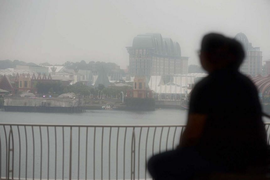 Hazy conditions seen from VivoCity at 5.30pm on Monday, Sept 28.