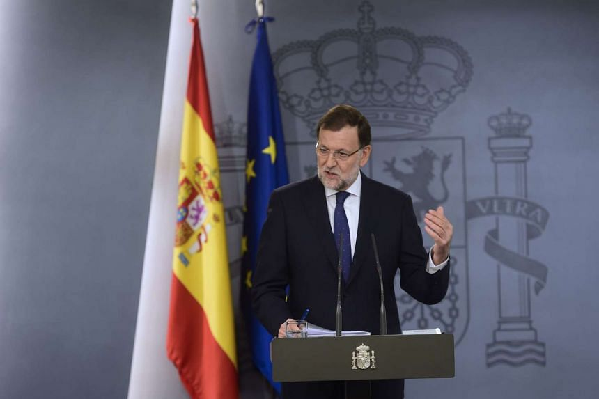 Spain's Prime Minister Mariano Rajoy gestures during a press conference following the results of the regional election in Catalonia at Moncloa palace in Madrid on Sept 28, 2015. Mr Rajoy said today he was willing to negotiate with Catalonia after pro