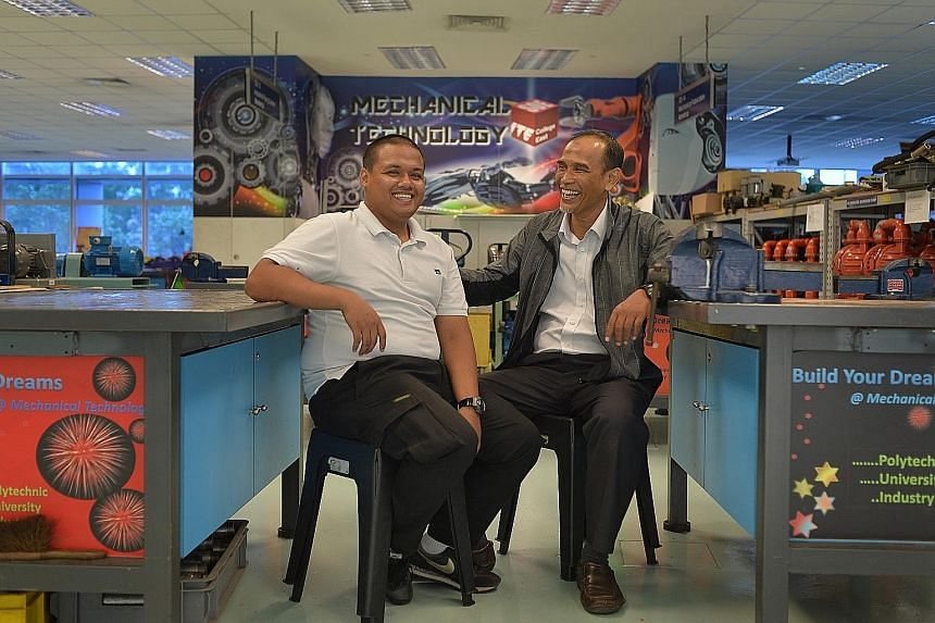 ITE student Muhammad Firdaus Razali (left) with his mechanical engineering lecturer, Mr Khalid Kassim, who helped him stay in school despite his financial problems. Since last year, he has given Mr Firdaus close to $900 out of his own pocket, to help