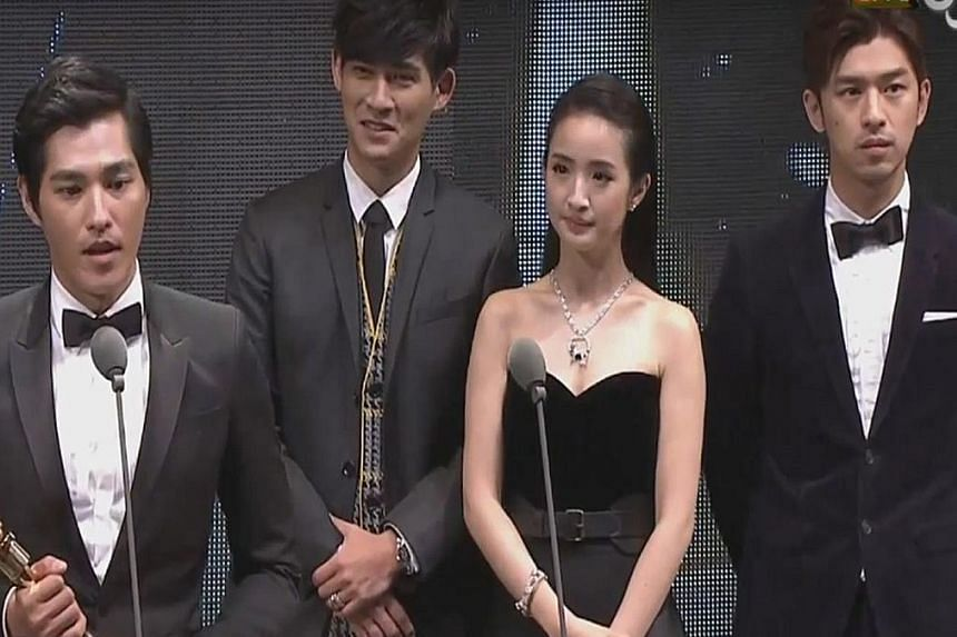 Blue Lan (above left) is Best Actor. Behind him are (from left) Vic Chou, Ariel Lin and Chen Bo-lin.