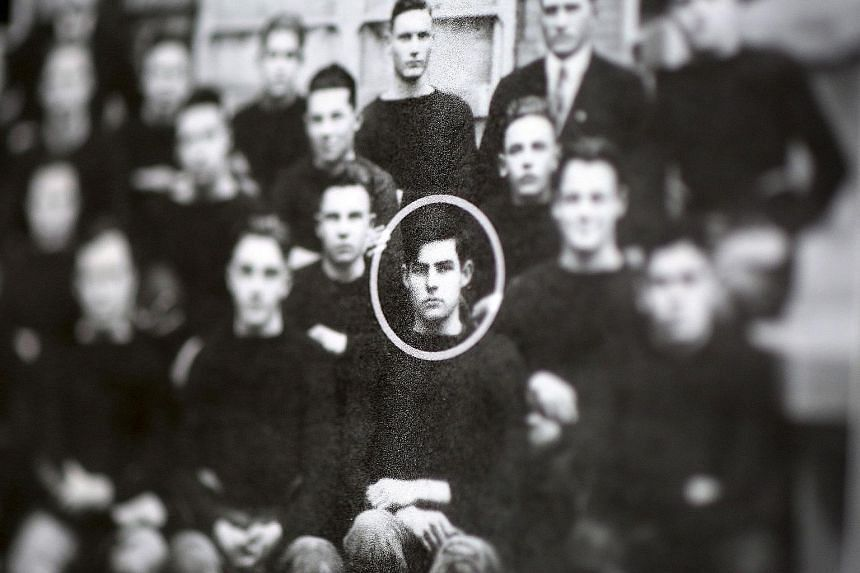 A photograph of Ernest Hemingway (circled) when he was in school, from a collection of his belongings.