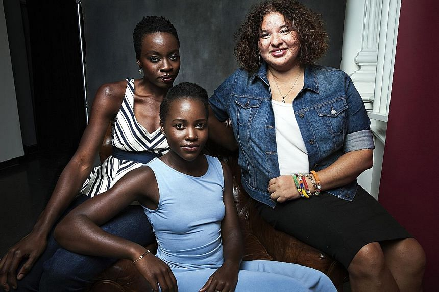 The play Eclipsed reunites (from left) playwright Danai Gurira, actress Lupita Nyong'o and director Liesl Tommy.