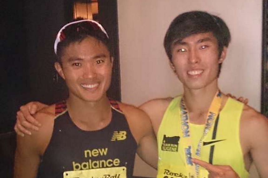 Singapore marathoners Mok Ying Ren (left) and Soh Rui Yong took part in the San Jose Rock N Roll Half Marathon on Sunday in California. Mok ran 1:08:22 in his first race in 15 months after a string of injuries, while Soh broke Mok's 2014 national bes