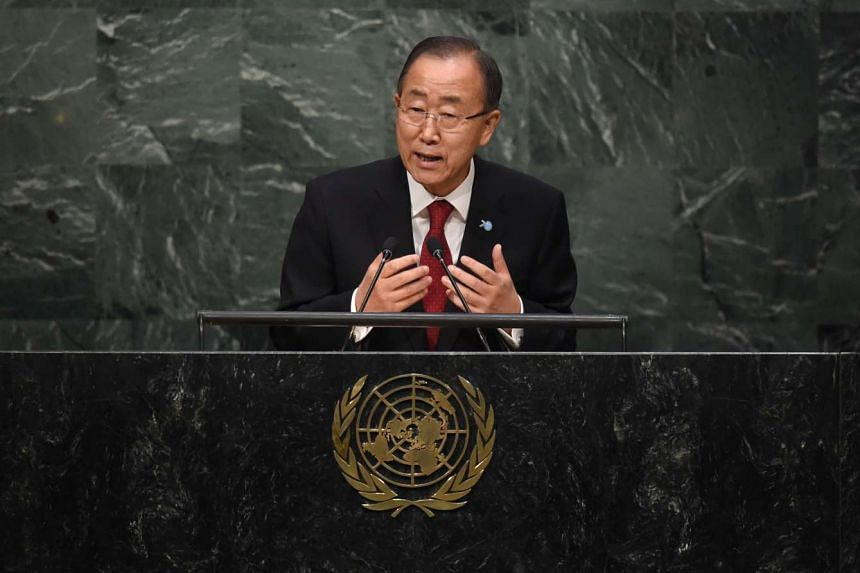 United Nations Secretary Genaral Ban Ki-moon addresses the 70th Session of the UN General Assembly Sept 28, 2015 in New York.