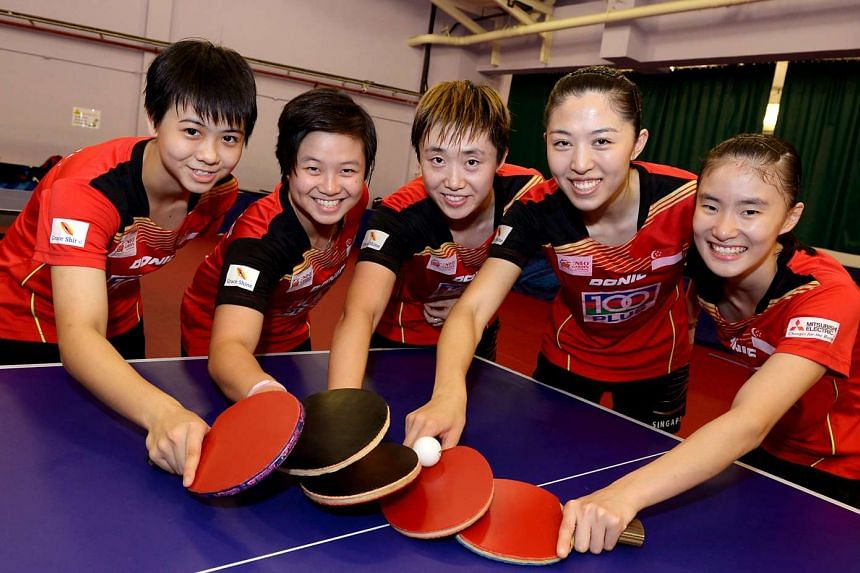 Singapore women's table tennis team at the  Asian Table Tennis Championships in Pattaya, Thailand.