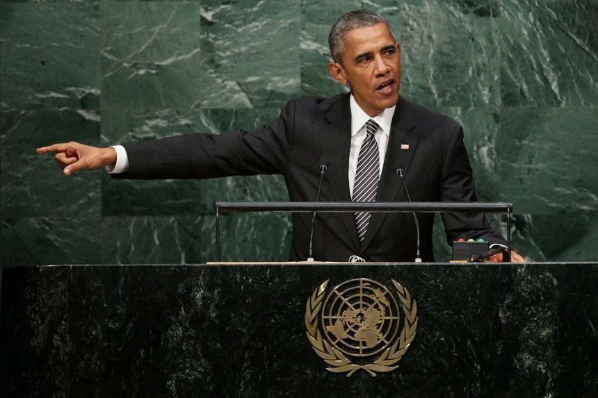 US President Barack Obama delivers his address during the United Nations Sustainable Development Summit which is taking place for three days before the start of the 70th session General Debate of the United Nations General Assembly at United Nations