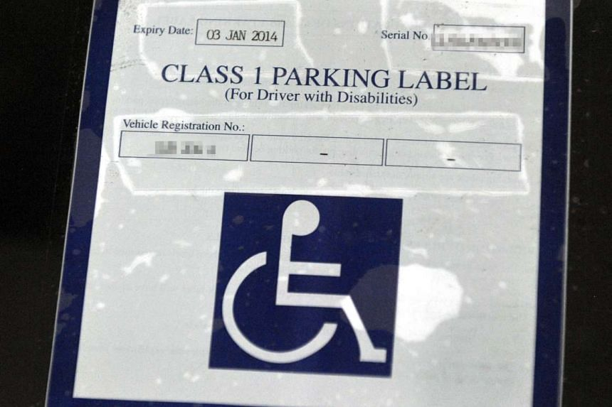A Class 1 parking label which is for disabled people who drive.