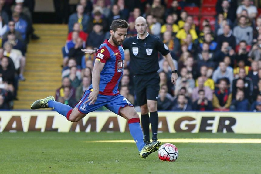 Crystal Palace's Yohan Cabaye scores their first goal against Watford from the penalty spot.