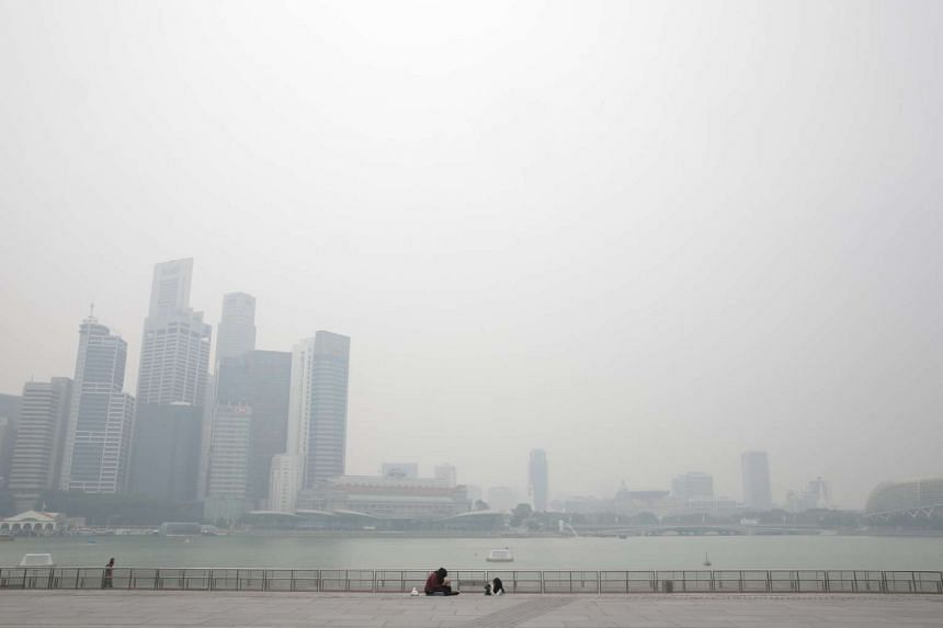 Hazy conditions as seen at Marina Bay Sands at 2.30pm on Monday, Sept 28, 2015.