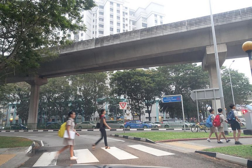 People heading to school and work along Punggol Road.