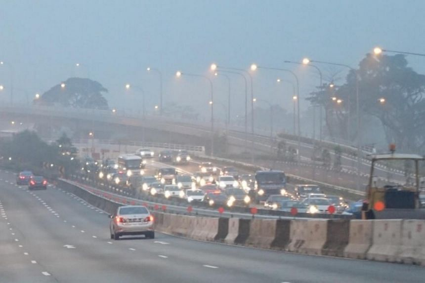The hazy outlook and traffic along the CTE at 7am.
