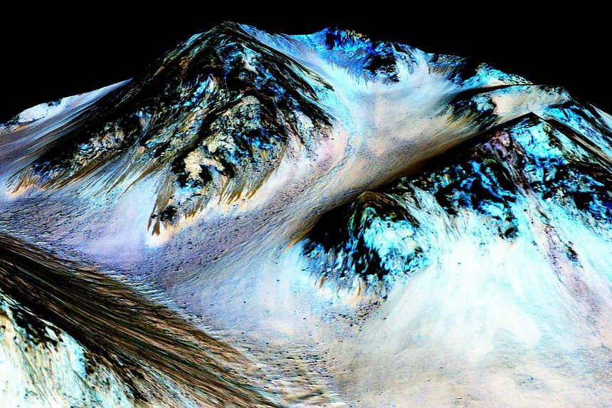 Dark narrow streaks streaks on Mars inferred to have been formed by contemporary flowing water are seen in an image produced by Nasa, the Jet Propulsion Laboratory (JPL) and the University of Arizona.