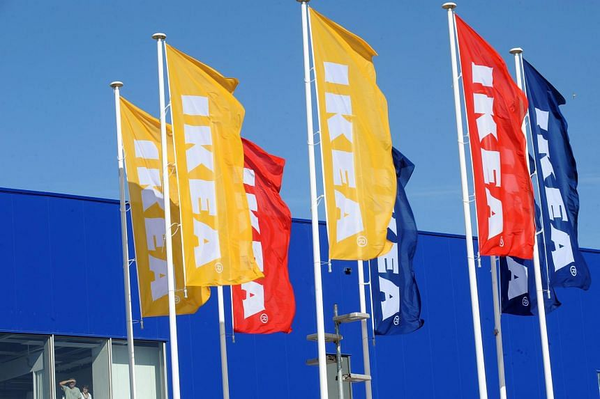 Ikea flags in front of a new Ikea store in Saint-Pierre-d'Irube in south-western France.
