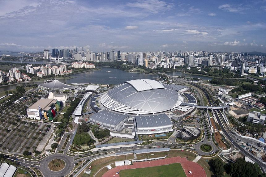 Aerial view of the Singapore Sports Hub where the National Stadium is located at.