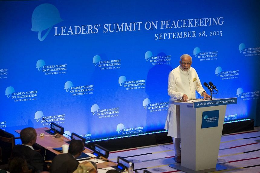 India's PM Modi delivering remarks during a Leaders' Summit on Peacekeeping to coincide with the United Nations General Assembly on Sept 28, 2015.