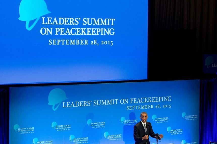 US President Barack Obama speaks during the Leaders summit on Peackeeping, as part of the 70th UN assembly, on Sept 28, 2015, in New York.