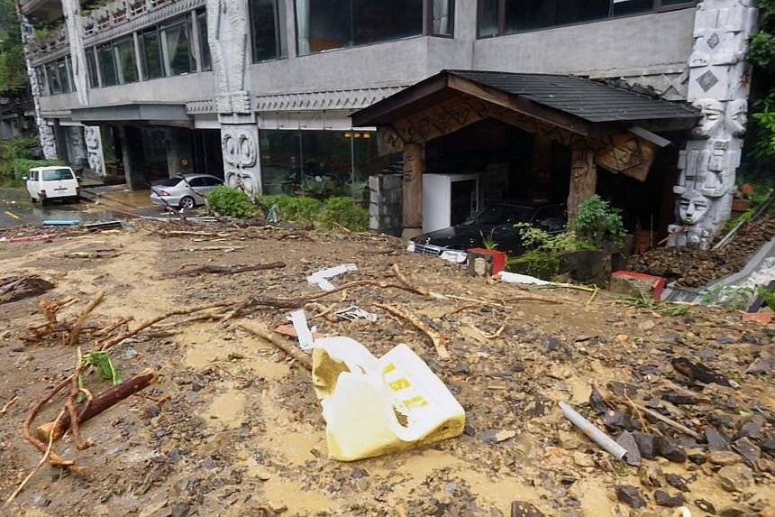 This handout picture released by the New Taipei City Government on Sept 29, 2015, shows the front of a hot springs hotel blocked by a mudslide caused by Typhoon Dujuan in Wulai, a rural district in New Taipei City.